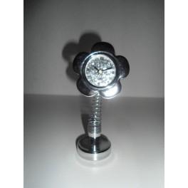 Orologio da tavolo fiore con glitter argento effetto molla for Parete bianca con glitter argento
