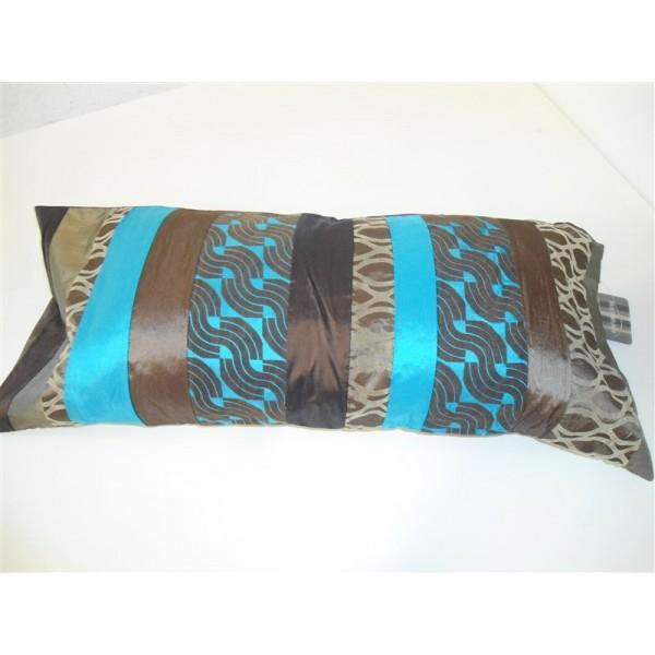 Federa cuscino arredo paniker copricuscino fodera divano letto 30x80 cm turchese marrone - Cuscini per divano letto ...